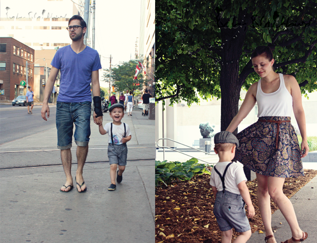 family style, what we wore, fashionable family, fashion loving family, heat wave, h&m kids clothing, DIY baby scarf headband, zara baby sandals, native kids shoes, boys h&m suspenders, boys american apparel tee, H&M mens shorts, havanias, h&m woemns skirt, zara womens sandals