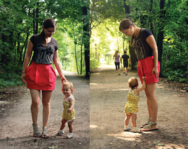 family style, what we wore, fashionable family, fashion loving family, zara pink tulip skirt, urban outfitters womens beatles tee, zara womens grey sandals, vintage native baby girl romper, zara girls cage sandals, b.childrens wear military tee, zara boys denim shorts, boys native black shoes, boys black quicksliver straw fedora, out and about in toronto, stylish young canadian family