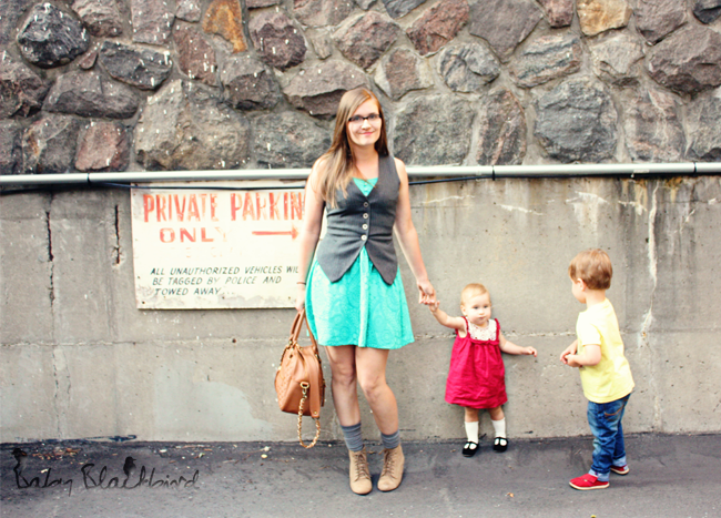 family style, what we wore, fashionable family, fashion loving family, outfit post, casual fashion, zara baby girl crochet dress, zara baby girl black strap shoes, h&m womens flannel vest, zara womens turquoise dress, theit the bossi stylish camera bag, zara womens wedge hiking boots, warby parker eldirdge tennessee whisky frames,