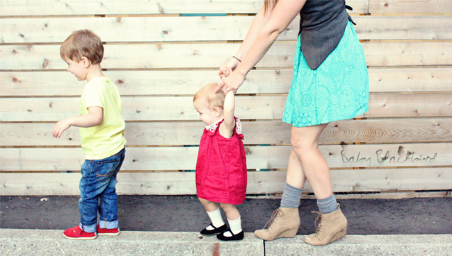 family style, what we wore, fashionable family, fashion loving family, outfit post, casual fashion, zara baby girl crochet dress, zara baby girl black strap shoes, h&m womens flannel vest, zara womens turquoise dress, theit the bossi stylish camera bag, zara womens wedge hiking boots, warby parker eldirdge tennessee whisky frames, threadless kids woodchuck tee, zara kids jeans, tiny toms red toms