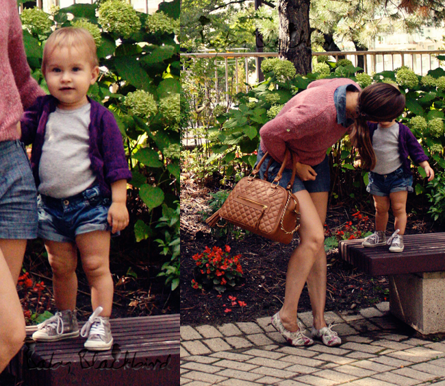 family style, mom and toddler outfit posts, kids fashion, childrens fashion, mom style, what we wore, h&m womens sweater, urban outfitters chambray roomper, theit the bossi bag, zara floral oxfords, warby parker glasses, zara baby sneakers, zara baby denim shorts, h&m onesie tank top, h&m baby cardigan