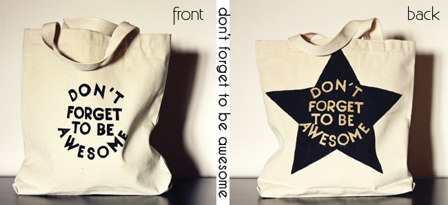 diy screen printed graphic tote bags, dit tote bags for kids, don't forget to be awesome,  city kids shopping bags