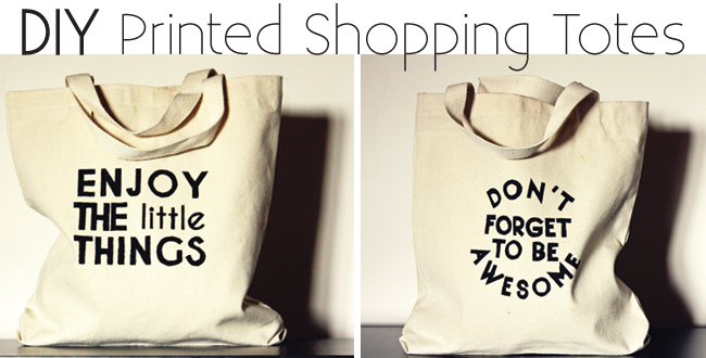 diy screen printed graphic tote bags, dit tote bags for kids, don't forget to be awesome, enjoy the little things, city kids shopping bags