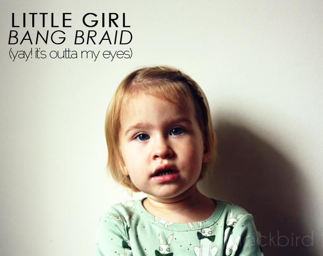 little girl hair tutorial, little girl bang braid, adorable bang braid