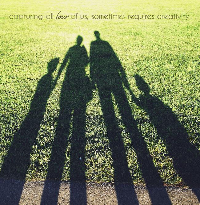 family photo, shadow family, creative family photo
