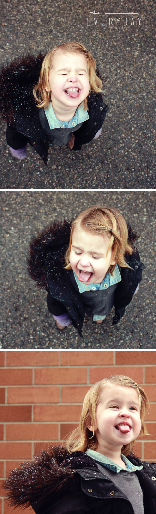 kids style, everyday moments, catching snowflakes, enjoying childhood