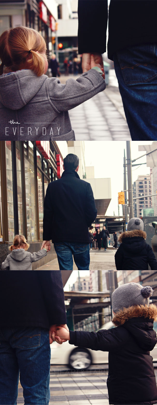 the everyday moments, the small things, enjoying life, holding dads hands, urban family