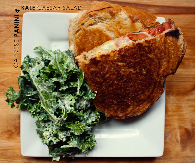 caprese panini, kale ceaser salad, what we eat