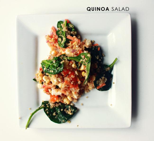 quinoa salad, what we eat, quinoa and spinach salad