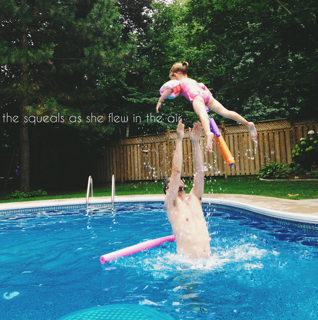 moments to rememeber forever, capturing moments to remember, young family life, toronto young family, squeals of joy from being tossed in the air, swimming with dad