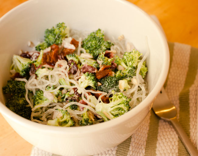 broccoli crunch salad, kelp noodles in salad, what we eat, salad love, broccoli cranberry salad
