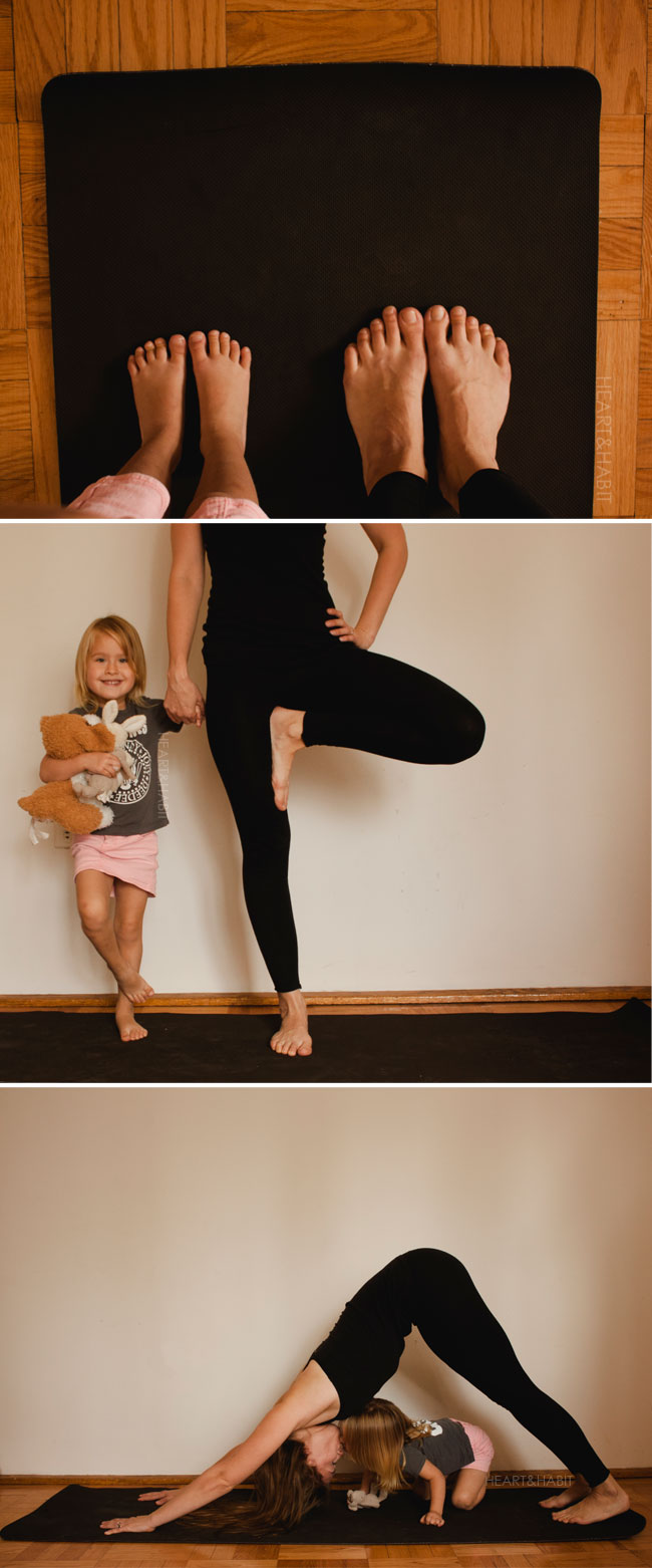 yoga with kids, everyday moments, enjoying simple things, yoga with mom mom daughter yoga, playing yoga