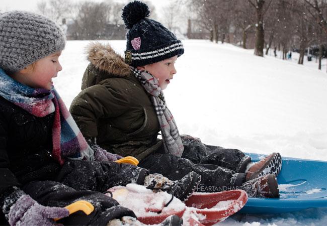 when it snows, snow day, toronto family, winter is ok when it snows, last miniute shopping, sledding day