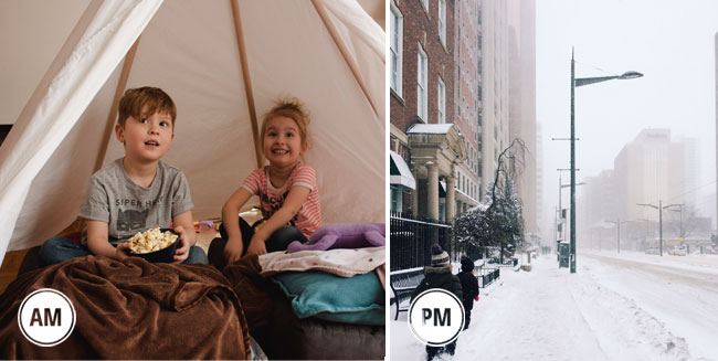 movie watching day, playing outside in the snow