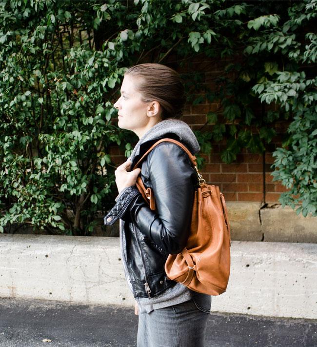 "BRAVE Leather 'Dara"" Bucket Bag"