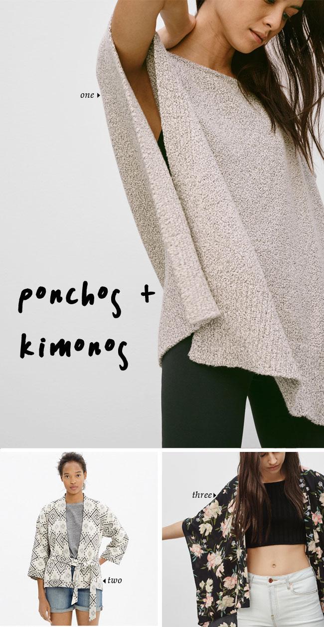 Spring Trends   ponchos + kimonos